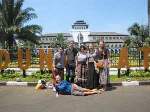 One afternoon there were small group sessions, meaning that a number of us had a longer break than the usual 50 minutes for lunch. This group decided to explore Bandung and see some of the noteworthy sites. Behind us is Gadung Sate, a government building that serves an unknown purpose. It is famous for the sate-like spire on top that you can see in this picture if you squint.