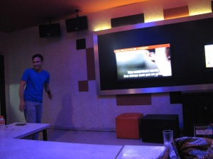 One evening, a large group that included AMINEF staff and our Bahasa Indonesia teachers went out to karaoke. This is Rizqi, one of the AMINEF staff, letting out his wild side. Everyone sang that evening, even me when