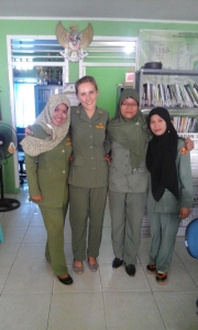 Lovely ladies at the Bukit Merapin District Office.