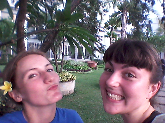 The lovely Miss Rebecca and I enjoying a stroll in the apartment's gardens.