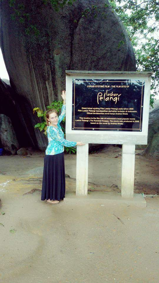 One of the easy-to-spot tourism signs declaring this beach's importance in the film Laskar Pelangi.