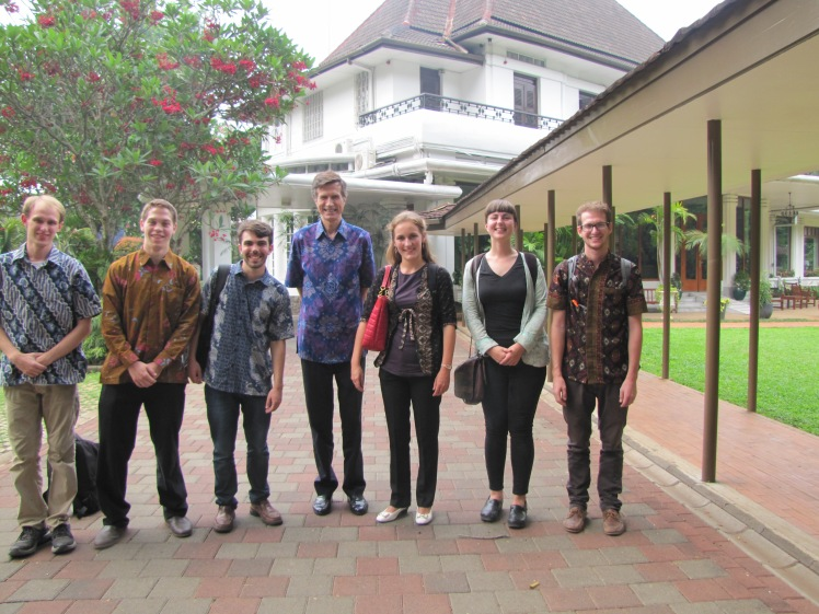 Ambassador Blake came out to personally greet us. He's an affable man, which isn't surprising given his profession. He is the tall one in the center wearing some nice indigo batik.