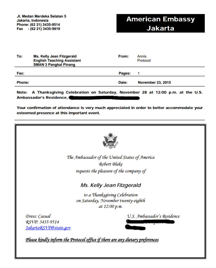 A screenshot of the e-invitation to dine at the ambassador's house.