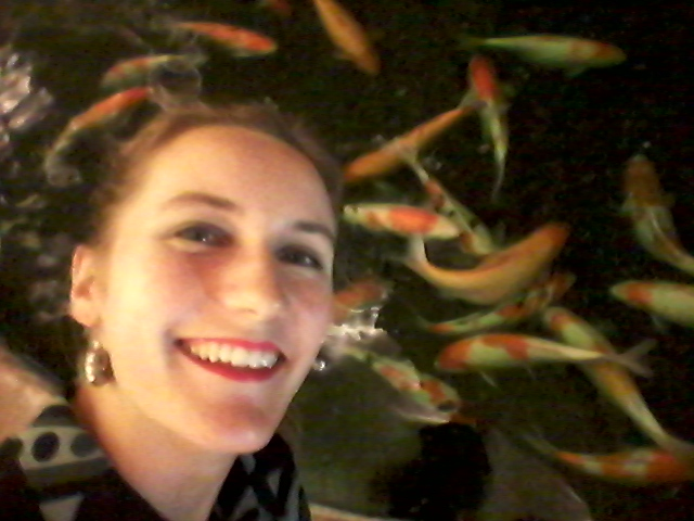 Don't be koi, darling. (Goofing off before the dinner reception.)