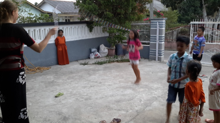 We teach the neighborhood kids on Thursday evenings, but sometimes they come over to play on other days too.