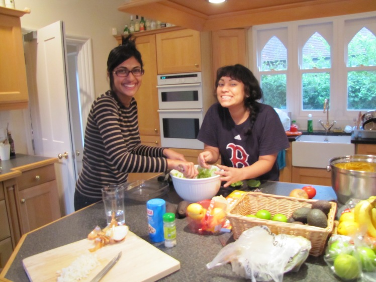 Deeya (left) and Vanesa (right), my friends and superstar roommates in Oxford during autumn 2013. We were prepping for Guac night at our flat, which was a smashing success.