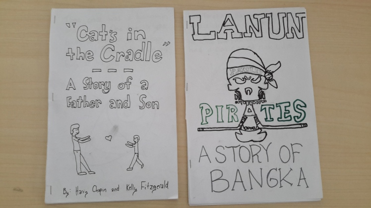 "My example storybook using the song ""Cat's in the Cradle"" along with one group's story about Lanun, a famous pirate in Bangka."