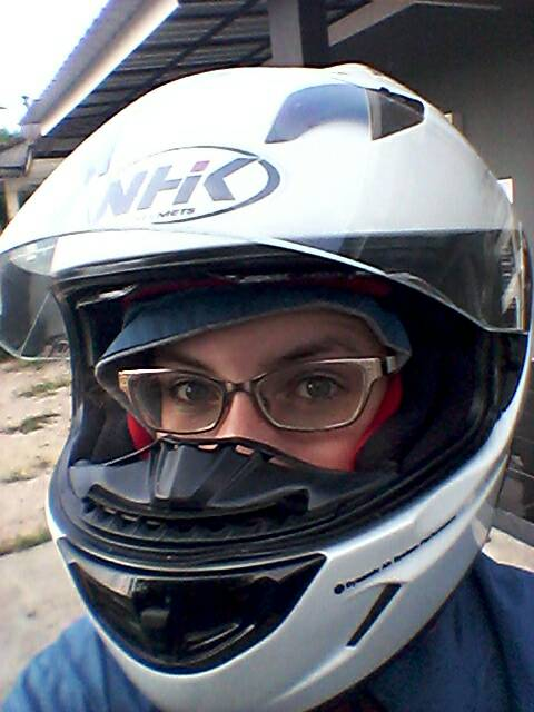 The full-face helmet and jacket that I always wear when I ride Sally.