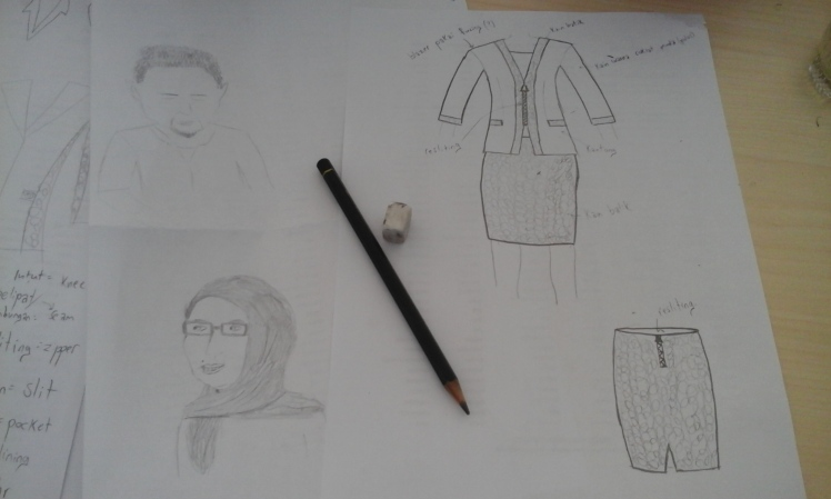 I drew Pak Feri (top left) while he was drawing me. Bu Yani is below him and a vision for a batik skirt and plain blazer with batik accents is next to it. I'm super into having clothes tailor-made while I'm here.
