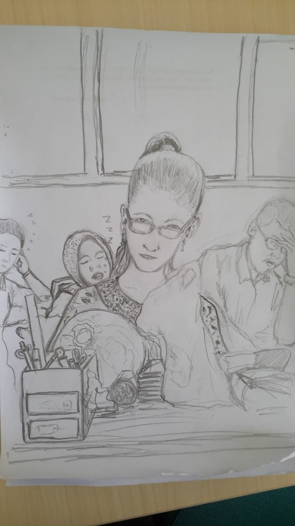 Pak Feri's draing of me drawing him. He's an art teacher, which is kinda easy to see. Note the teachers sleeping in the background.