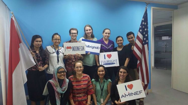 Meet the AMINEF team for 2016-2017! From left to right, top row: Bella, Thasia, Michael (SETA), Sam (SETA), Mackenzie (SETA), Astrid, Rizqi. Bottom row: Mitha, Kelly (me!), Ceacealia, Grace (RC).