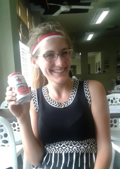 At lunch I celebrated Independence Day, American style: with a beer. Cheers!
