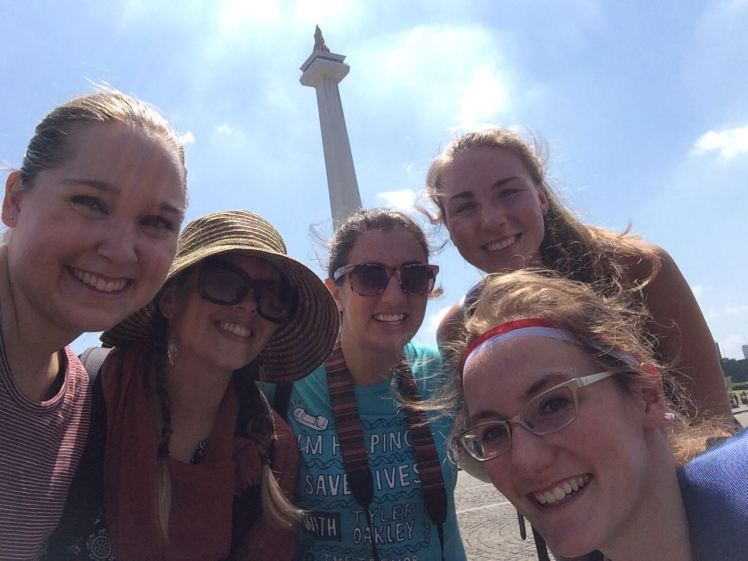 From left to right: Mackenzie, Sam M., Grace, Sam, and Me. Monumen Nasional (Monas) is the spire in the background.