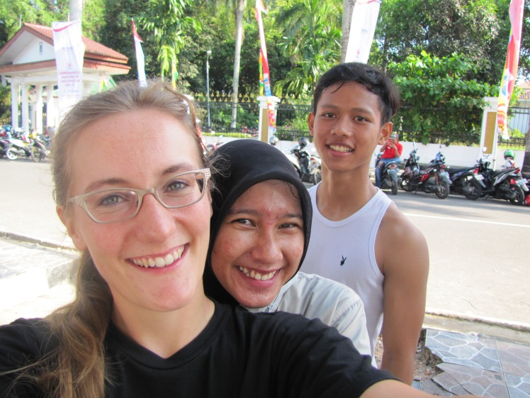 I went for a walk early Sunday morning around the hotel and ran into some former SMA3 students. Fitri, center, already graduated and is moving to Yogyakarta for college in two weeks.