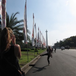Kickin' it loose in the empty streets on our way to Monas early in the day.