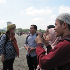 Sam M. had a lot more patience for the Indonesian people who approached her than the rest of us did. She even let herself be interviewed by these college kids out on an assignment.