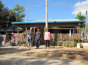Sam, Aung, and I in front of his house as we left for our adventure.
