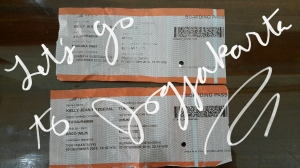 The train departs and arrives at exactly the time shown on these tickets.