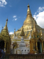 A small glimpse of the massive Schwedagon Pagoda.