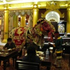 This elephant dancer is an elaborate costume worn by two people.