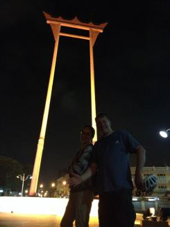 You can't really see us but we're there: Dad and I in front of the Giant Swing.