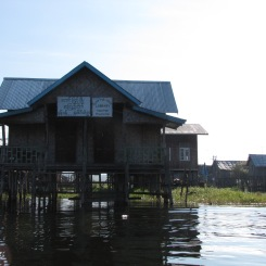 The village library, like most other buildings, is accessible only by boat.